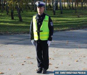 6.Policjant stojący przodem lub tyłem do kierowcy – odpowiednik sygnału czerwonego